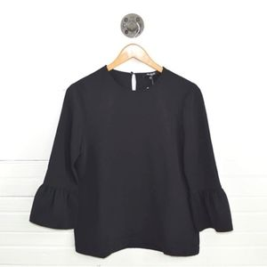 Madewell Bell Sleeve Black Blouse Top XS